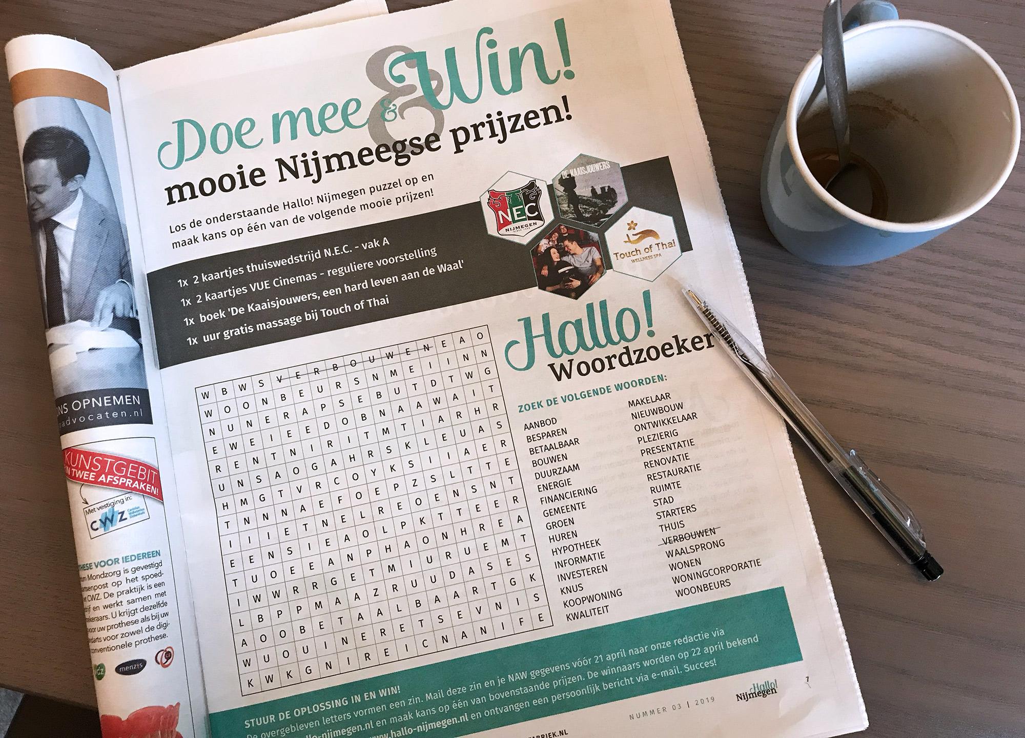 Winnaars woordzoeker Hallo! Nijmegen april editie bekend