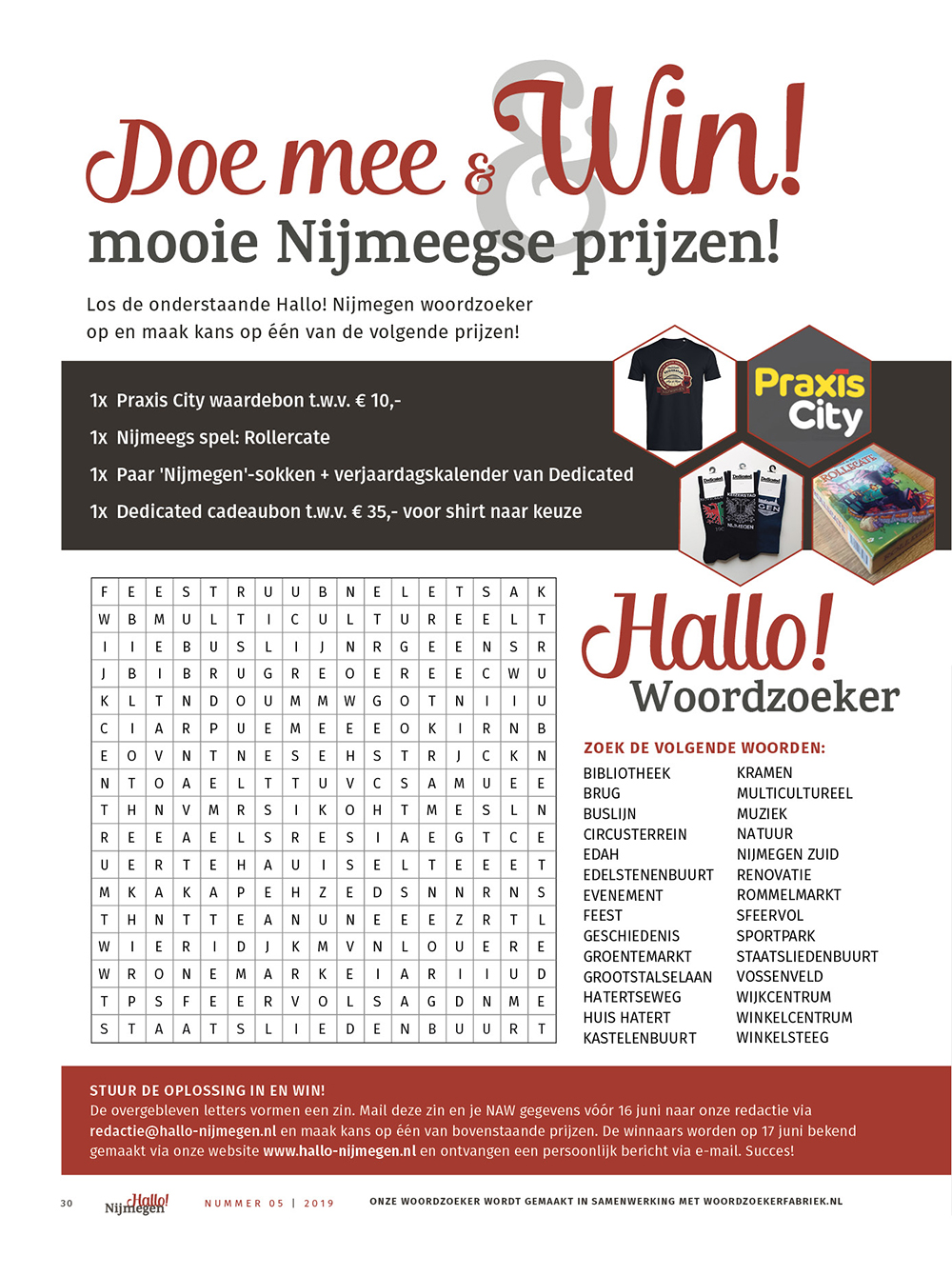 Winnaars woordzoeker Hallo! Nijmegen juni editie bekend