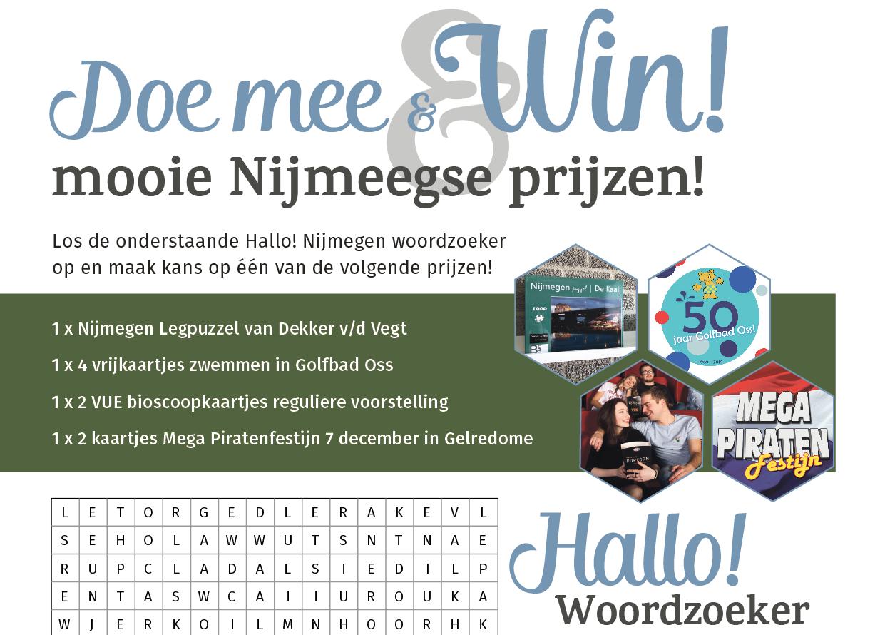 Doe mee met de Hallo! Nijmegen Woordzoeker van september en win leuke prijzen!
